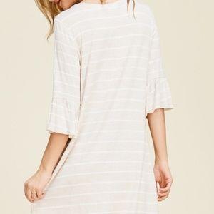 Amanda Stripe Ruffle Sleeve Tunic Dress
